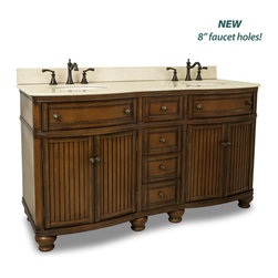 Hardware Resources - Compton Bath Elements Vanity  60-1/2 x 23 x 35 - This 60 inch wide MDF double vanity has simple beadboard doors and curved shape to accent the traditional cottage feel. The Walnut finish is created by hand  making each vanity unique. Two large cabinets  fully functional top drawers fitted around plumbing  and a center bank of drawers  equipped with ball bearing slides  provide ample storage.  This vanity has a 2CM Cream marble top preassembled with two H8809WH (15 x 12) bowls  cut for 8 faucet spread  and corresponding 2CM x 4 tall backsplash.  Overall Measurements: 60 1/2 x 23 x 35 (measurements taken from the widest point) Finish: Painted Walnut Material: MDF Style: Traditional Coordinating Mirror(s): MIR029  MIR029 48  MIR029D 60 Bowl: H8809WH