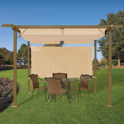 Pergola with Adjustable Shades - This pergola is perfect if you need shade or just need privacy. If you love your neighbors but don't want to spend your romantic dinner on the deck with them, this is perfect for you.