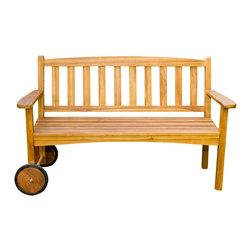 Joie de Vivre - Wayfarer Rolling Bench - Teak & Modern - Product description:
