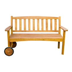 Joie de Vivre - Wayfarer Rolling Bench - Teak & Modern - Product description: