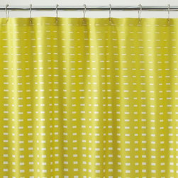 Marimekko Kullervo Citron Shower Curtain - Marjaana Virta's clean design subtly graduates white rectangles on citron. A beautiful pairing with our grey fringe or white-ribbed towel collections.