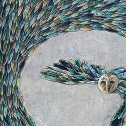 "Moonlit Feathers (Original) by Shellie Mitchell - ""Moonlit Feathers"" is fabric on wood. Close up you can see layers and layers of fabric feathers. This sweet owl is flying across the moon and the whole piece is magical, I promise!"