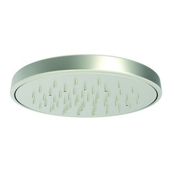 """Newport Brass - Newport Brass 2153 8-7/8"""" Single Function Showerhead - 8-7/8"""" Single Function Showerhead  Since 1989, Newport Brass has developed, designed and delivered classically constructed versatile suites of timeless kitchen, bath and shower products for the discerning customer. With 20 years of commitment to well engineered solid brass designs and an undisputed reputation for performance and durability, Newport Brass continues to handcraft the finest fixtures with strict testing and quality assurance measures.  Features:    Simulated rainfall shower pattern  Rubber nozzles facilitate easy cleaning  Contemporary Style    Available in 25 beautiful finishes  New Industry Leading lacquer Finish Process  Long Life Finishes - 10 Year Warranty  Durable, color protected, scratch resistant  Green, low VOC, energy efficient finishing process      Finish Features:    Specifications:    2.0 gpm  Diameter: 8-7/8""""  Connection: 1/2"""" IPS inlet pivot ball fitting"""