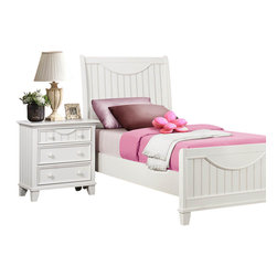 Homelegance - Homelegance Alyssa 2-Piece Kids' Panel Bedroom Set in White - Cottage styling lends itself to the Alyssa collection. finished in a simple cottage white or warm brown cherry bead board accents the end panels and top drawers of each case piece while coordinating knobs punctuate each drawer. Offerings include full queen and king beds. The Alyssa collection is a quaint addition to your home.
