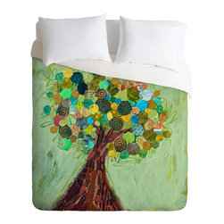DENY Designs - DENY Designs Elizabeth St Hilaire Nelson Spring Tree Duvet Cover - Lightweight - Turn your basic, boring down comforter into the super stylish focal point of your bedroom. Our Lightweight Duvet is made from an ultra soft, lightweight woven polyester, ivory-colored top with a 100% polyester, ivory-colored bottom. They include a hidden zipper with interior corner ties to secure your comforter. It is comfy, fade-resistant, machine washable and custom printed for each and every customer. If you're looking for a heavier duvet option, be sure to check out our Luxe Duvets!