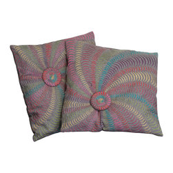 """Great Deal Furniture - 18"""" Multi-Colored Grey Flannel Starburst Pillows (Set of 2) - Add contemporary design to your seating areas with our decorative pillow sets. Featuring a linen blend cover, you'll find these pillows stylish and comfortable."""