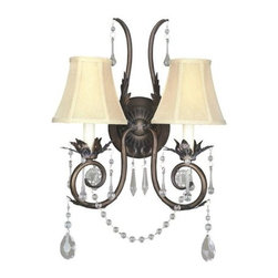 World Imports - World Imports WI755 Crystal Up Lighting Wall Sconce from the Berkeley Square Col - Two light wall sconceFeatures draped crystals, hand-forged leaves and hand-made ivory shadesRequires 2 candelabra base 60W max bulbs