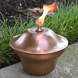 Classic Copper Tabletop Torch - Antique Copper - Great for any style of outdoor decor, this Classic Copper Tabletop Torch features a simple design with an Antique Copper finish. This patio torch is great for use on a dining table or multiple torches lining a walkway.