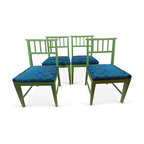 """Danish-Style Dining Chairs, Set of 4 - Set of four hand-painted Danish-style dining chairs with blue and green pattern fabric seats. Seat, 17""""H."""