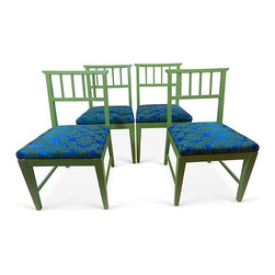 "Danish-Style Dining Chairs, Set of 4 - Set of four hand-painted Danish-style dining chairs with blue and green pattern fabric seats. Seat, 17""H."