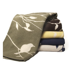 In2green Birdy Eco Knit Throw - This nature inspired Bird on Branch throw is knit with a blend of recycled cotton yarn and made in the USA.