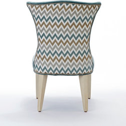 Precise Stitch Room - Take a look at the back of our new Amelia Chair upholstered in the metallic chevron fabric, Precise Stitch in Mineral and accented with Brushed Nickel nailheads.