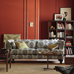 Essex Sofa - This cushy sofa is extra appealing in the new paisley print. It has that exotic ethnic look that will make you look well traveled, even if you barely ever get  off said sofa.