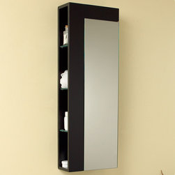 """Fresca - Fresca Espresso Bathroom Linen Side Cabinet w/ Large Mirror Door - A clean, contemporary design combines with practical storage space in the Fresca Espresso Bathroom Side Cabinet, model FST1024ES. This sturdy cabinet features one closing door with a large mirror and four exposed shelves on the side, with plenty of room for towels, soaps, creams and lotions. This wall mounted W 13 3/4"""" x D 5 7/8"""" x H 39 3/8"""" bathroom side cabinet is elegant enough for a guest bath or bedroom. The dark espresso finish complements any decor."""