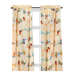 "Cowboy Window Panels set - Our Cowboy window curtain sets coordinate with the bedding fabric, knobs and accessories to make the room theme complete. Designer print has cactus, sherriff badges and colorful western boots of every kind. 2 panels, 84""L x 59"" W."