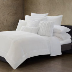 """Natori - Natori Ming Fretwork White Quilted Coverlet - This sleek white coverlet is quilted for added comfort and has a 1"""" band around the edges for a clean finish. It's the perfect layering piece for the Ming Fretwork duvet cover and works great on its own."""