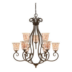Quoizel - Quoizel Malaga Mid. Chandeliers - SKU: MY5009ML - The lovely mosaic design on the glass shades is made from genuine pen shell, bringing the beauty of nature into your home. The playful curls of the metal body add a whimsical element to the overall style. Its looks as wonderful in a beach house as it does in a modern loft.