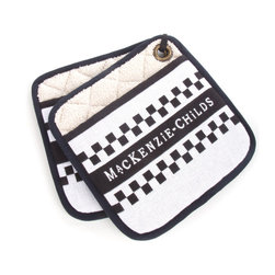 MacKenzie-Childs Pot Holders - Black & White | MacKenzie-Childs - Now our woven dish towels have some partners. Practical, functional, and boldly colored. Sold in pairs. 100% cotton, padded for safety.