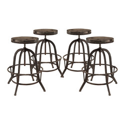 Modway - Collect 4 Piece Dining Set EEI-1607, Brown - Place yourself on the pedestal of experience. Collect is an envisioned industrial modern counter stool that secures bygone moments into a calming version of the present. Constructed of solid pine wood and a cast iron stand with footring, gather together your experiences and enthusiasm in this piece that spans the ages.