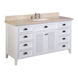 Kitchen Bath Collection - Savannah 60-in Single Sink Bath Vanity (Crema Marfil/White) - This bathroom vanity set by Kitchen Bath Collection includes a white cabinet with self-closing doors and soft-close drawers, stunning Crema Marfil marble countertop with double-thick beveled edges,undermount ceramic sink, pop-up drain, and P-trap. Order now and we will include the pictured three-hole faucet and a matching backsplash as a free gift! All vanities come fully assembled by the manufacturer, with countertop & sink pre-installed.