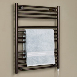 """24"""" Bergama Plug-In Towel Warmer - Featuring 15 sleek rails, this liquid filled towel warmer has ample space to hang your towel or robe. The Bergama Liquid-Filled Towel Warmer mounts directly to your wall and will Plug-Into an existing outlet."""