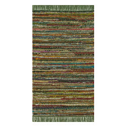 "Loloi Rugs - Loloi Rugs Gillian Collection - Green, 2'-3"" x 3'-9"" - The richly colored jewel tones of Gillian belie the casual weave of this contemporary chindi design, offering something that is both sophisticated yet relaxed. Made in India of soft-to-the-touch cotton, Gillian has fringe detailing for added style."