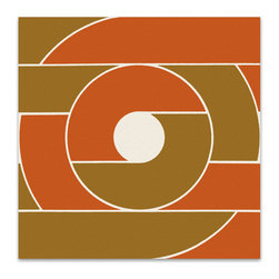 "Graphilia - ""Record"" by Victor Langer 1977 Original Vintage Serigraph -orange - Original 1977 serigraph by Victor Langer."