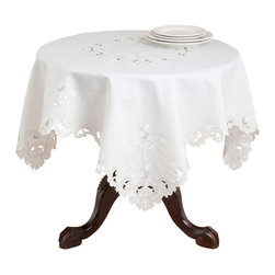 """Saro - Embroidered Floral Tablecloth, Ivory - 36x36"""" - Floral cutwork, just like your nana's. Dress your table in vintage linens with classic beauty."""
