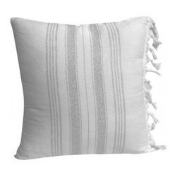 Christian Maxwell - Silver Tassel Pillow - This throw pillow, made from 100 percent cotton, adds a delicate glamour to your settee or favorite chair. A teeny bit of bling is all yours thanks to the metallic stripes, yet the herringbone design ensures it's not at all gaudy.