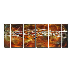 Pure Art - Definitively Wired Modern Metal Art Set of 6 - A contemporary abstract artwork with strong horizontal orientation, this metal art has many layers of interest: The backdrop is nearly diffuse color which is blended, highlighted and diluted through the artist's technique of hand grinding the metal. The next layer is swirls of white, adding contrast against the backdrop and then thin, random lines of black seem to nearly jump off the surface.Made with top grade aluminum material and handcrafted with the use of special colors, it is a very appealing piece that sticks out with its genuine glow. Easy to hang and clean.