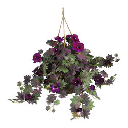 Nearly Natural - Nearly Natural Morning Glory Hanging Basket Silk Plant - Despite their name, these beautiful flowers will remain in bloom throughout the day. Crisp funnel-shaped petals surrounded by a colorful hue of pointy leaves create the perfect contrast for this morning glory silk hanging basket. Whether displayed outdoors on your front porch or in an indoor patio setting, this authentic styled arrangement is sure to please. Enjoy the beauty of natural looking flowers without the hassle of watering, wilting petals, or pesky insects. An attractive wicker basket adds a nice finishing touch.