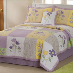 Pem America - Patch of Flowers Full / Queen Quilt with Two Shams - Lilac, yellow and greens dominate this asymmetrical quilt.  Large embroidered flowers bring an added touch of softness.  - Machine washable. Pem America - QS2731FQ-2300