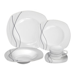 """Lorren Home Trends - Porcelain 20 Piece Square Dinnerware Set Service for 4, Grey Confetti - 20 Piece Porcelain Square Dinnerware Set, service for 4.  This elegant and stylish set is made of durable porcelain.  Set includes 4-10.5"""" dinner plate, 4-9"""" Soup bowl, 4-8"""" Salad plate, 4-6 ounce coffee cup and 4-saucers.  Fun designs for entertaining and dining. Dishwasher and Microwave Safe."""