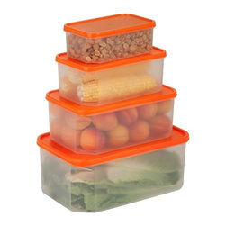 4 Piece Rectangular Food Storage Container Set - Honey-Can-Do KCH-03834 4-Piece Locking Food Container Set, Clear. This 4-piece set of food storage containers is perfect for storing leftovers, make-ahead meals and on-the-go lunches. The set includes one 0.8L container, one 1.6L container, one 2.8L container and one 4.8L container.  Dishwasher, microwave and freezer safe. When using in microwave, open closure clips on each side and open corner of lid to vent. Not for use in ovens, under broilers or on stove-top. BPA Free.