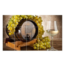 Picture-Tiles, LLC - Wine Grapes Photo Wall Back Splash Tile Mural  18 x 30 - * Wine Grapes Photo Wall Back Splash Tile Mural 1551