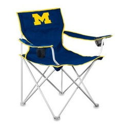 "Logo Chair Inc - University of Michigan Collegiate Deluxe Chair - This tailgate chair has a generous seating area of 23 1/2"" x 23 1/2"" and utilizes a double layered 600 x 600 denier canvas material for both comfort and stability."