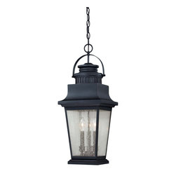 Savoy House - Barrister Hanging Lantern - The Barrister Lantern collection boasts classic styling that will warm every homes exterior with an inviting glow. The Slate finish is the perfect companion to the Clear Seeded glass.