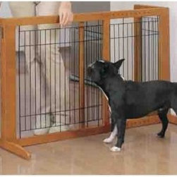 Richell Small Freestanding Pet Gate - The Small Freestanding Pet Gate is built extra tall with an additional 7.5 inches of height for bigger dogs. Its beautiful hardwood finish will accent traditional decor and adjustable width and self-supporting construction mean that the gate can be made to fit in most openings with ease. Easily collapsible it can be folded up and stored quickly and efficiently.Additional FeaturesFreestanding gate can be set up anywhere without complicated installationBeautiful hardwood finish enhances most home environmentsExtra height for larger petsAbout Richell USARichell USA is proud to bring you a unique selection of high-quality pet products designed to provide comfort style and functionality for you and your furry friends. All their wood products are beautifully crafted from rubberwood a highly durable and eco-friendly wood. Additionally Richell offers accessories and plastic pet items that complement their fine wood products perfectly. Located in Grand Prairie Texas the Richell USA team is 100% dedicated to providing innovative ideas high quality standards and excellent customer service.
