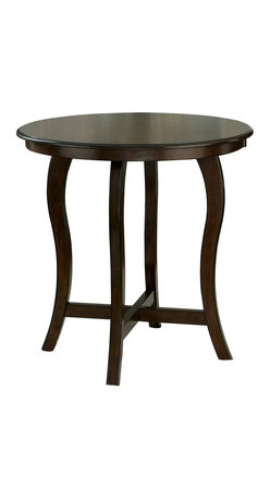 Hillsdale Furniture - Hillsdale Wilmington Round Counter Height Table in Cappuccino - Effortless and sleek, the Wilmington pub table brings style to any setting. Constructed of solid, cappuccino-hued hardwood, it features a round table top affixed to four elegantly arched legs. Matching stools with black or brown vinyl covers are also available. Some assembly required.