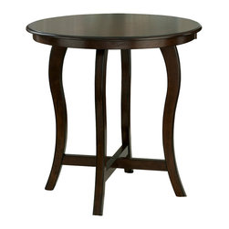 Hillsdale Furniture - Hillsdale Wilmington Round Counter Height Table in Cappucinno - Effortless and sleek, the Wilmington Pub Table brings style to any setting. Constructed of solid, cappuccino-hued hardwood, it features a round table top affixed to four elegantly arched legs. Matching stools with black or brown vinyl covers are also available. Some assembly required.