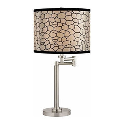 Design Classics Lighting - Pauz Swing Arm Table Lamp with Honeycomb Lamp Shade - 1902-09 SH9503 - Contemporary / modern satin nickel 1-light table lamp. Swing arm has a maximum 9-inch extension. Features a black honeycomb pattern over white drum shade. Takes (1) 100-watt incandescent A19 bulb(s). Bulb(s) sold separately. UL listed. Dry location rated.