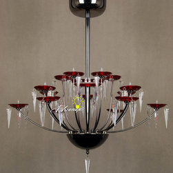 KELLO Modern 18 Simple Red Shades Crystal Chandelier -