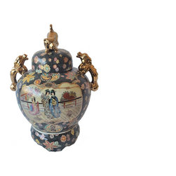 Foo Dog Ginger Jar, XL - This 2 piece vintage ginger jar set is in excellent condition, no chips or cracks. Hand painted throughout. Stamped Royal Satsuma and numbered on bottom. Makes a statement in any room!