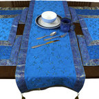 Banarsi Designs - Hand Embroidered 7-Piece Placemat & Table Runner Set, Ocean Blue - Discover our beautiful, artistic, and luxurious Hand Embroidered 7-Piece Placemat and Table Runner Set from our exclusive Banarsi Designs collection.