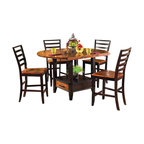 Steve Silver Furniture - Steve Silver Abaco 5-Piece Drop Leaf Counter Height Set - Let the Abaco Drop Leaf Counter Height Storage table take center stage at your next dinner party or gathering. The dining table includes tapered legs and a very unique finished top. The Abaco collection displays great craftsmanship and you will enjoy this collection for years to come.
