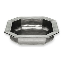 Pewter Stoneware Square Baker - With the Pewter Stoneware Square Baker, your culinary creations are framed like masterpieces. Gleaming with old-world glamour yet modern in design, this piece beautifies your tablescape with a touch of European panache. Adding to the visual appeal of the piece is an unexpected octagonal rim that elevates the baker from simply utilitarian to wonderfully unusual.