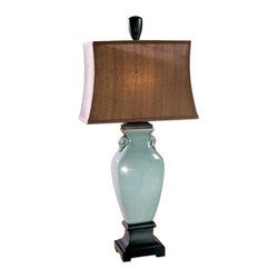 Uttermost - Hastin Porcelain Table Lamp - This porcelain table lamp has a crackled turquoise glaze with oil rubbed bronze details. The rectangle bell shade is a silken bronze textile with natural slubbing.