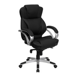 Flash Furniture - Flash Furniture Office Chairs Leather Executive Swivels X-GG-2-L6269-H - This executive high back office chair from Flash Furniture will complement any contemporary office. Featuring attractive white stitching on black leather, comfortable arms, a infinite-lock control mechanism, and a silver nylon base with black caps that prevent feet from slipping, this ergonomic office chair is sure to meet your needs! [H-9626L-2-GG]