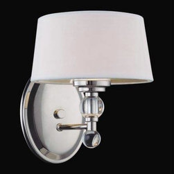Savoy House - Savoy House 8-1041-1-109 Murren 1 Light Sconce in Polished Nickel 8-1041-1-109 - A Transitional look, combining the best of Traditional and Contemporary styles, with a cleaner, less ornamented design. The Polished Nickel finish works well with the hardback white fabric shades. This versatile family includes a rod hung three light trestle and an assortment of incredibly unique pendants and bath bars.Bulb Type: G9 Bulb-Included: Yes Collection: Murren Design Style: Midtown Vogue Energy Star Compliant: No Extends: 9 Finish: Polished Nickel Height: 9 Light Direction: Down Lighting, Up Down Lighting Max Wattage: 40 Number of arms: 1 Number of Lights: 1 Safety Rating: UL, CUL Shades: White Shade Socket 1 Base: G9 Socket 1 Max Wattage: 40 Suggested Room Fit: Dining Room, Entry Foyer, Hallway, Office Voltage: 120 Weight: 8.76 Width: 7-1 2
