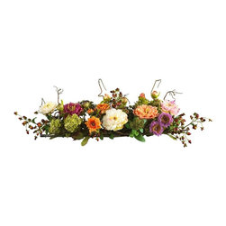 Nearly Natural - Mixed Peony Centerpiece Silk Flower Arrangeme - Not for outdoor use. Perfect centerpiece for all seasons. Perched gracefully atop rustic intertwined twigs. Perfect size for any room. 34 in. W X 10 in. D X 6.5 in. H (3lbs)A colorful addition to any room, this dazzling peony arrangement will have you dreaming of a sunny spring day no matter what the season. Plush pastel petals are flanked by a crisp mix of delicate buds and foliage. Nearly three feet in length, it's the perfect size to compliment a dining room table or fireplace mantel. Perched gracefully atop rustic intertwined twigs, you'll be impressed with its authentic beauty.
